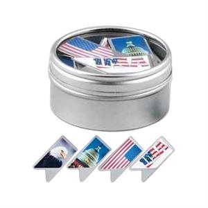 Keepaklip Paper Clips. 4 Patriotic Designs In Metal Tin With Clear Window Lid