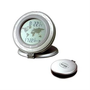 Round Alarm Clock With Display For Local Time And One Of 24 Worldwide Cities