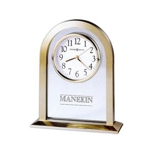 Imperial - Brushed And Polished Brass-tone Metal Arch Clock With A Glass Center Panel