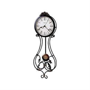 Paulina - Wrought Iron Wall Clock With Decorative Leaves And A Cast Crown