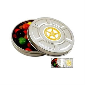 Pocket Size Mini Movie Reel Tin In Silver Filled With Chocolate Drops