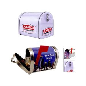 Classic Mailbox Design Tin In Silver Or White With Bag Of Salt Water Taffy