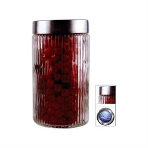 Large Round Glass Jar With Stainless Steel Lid, Empty