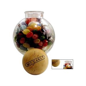 "Small Globe Glass Jar, 5"" X 3 1/2"" Dia. Filled With Chocolate Earth Balls"