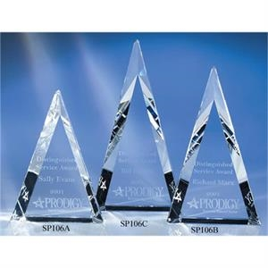 "Aurora - 4 1/8"" X 1 1/4"" X 5 7/8"" - Aurora Triangle-shaped Crystal Award By Crystal World"