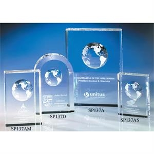 "Millennium - Millennium Globe Crystal Award By Crystal World. 5"" Sp137"