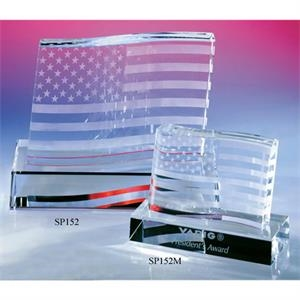 "Stars And Stripes - 7 1/2"" X 4"" X 5 1/4"" - Stars & Stripes American Flag Shaped Crystal Award By Crystal World. Sp152"