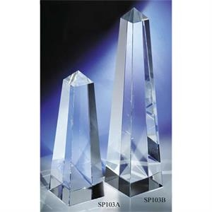 "2 3/8"" X 2 3/8"" X 7"" - An ""obelisk"" Crystal Award By Crystal World. Sp103"