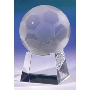 Soccer Ball On Small Base Crystal Award By Crystal World