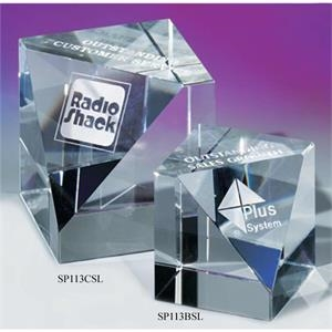 "3 1/8"" X 3 1/8"" X 3 1/8"" - Slanted Cube Crystal Paperweight By Crystal World"