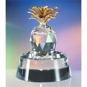 Golden Pineapple - Golden Pineapple Crystal Figurine By Crystal World On Base