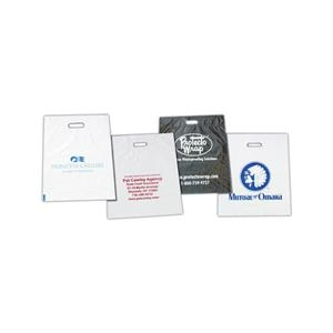 Imported Plastic Bag With Fold-over Reinforced Die Cut Handles, 1.75 Gauge