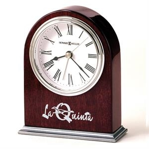Walker - Arched Rosewood Finished Table Alarm Clock Offers A Nickel Finished Metal Base