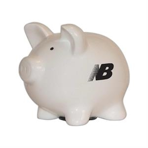 White Ceramic Piggy Bank, With Stopper On Bottom