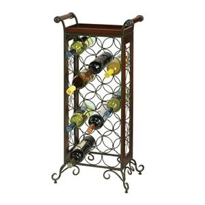 Wine Butler - Floor Standing Wrought Iron Metal Wine Rack
