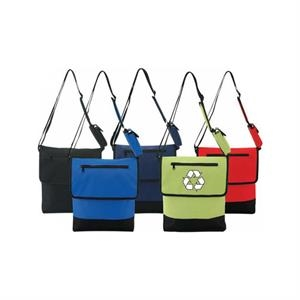 Recycled Material Messenger Bag With Cellular Phone Holder