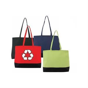 Recycled Material Large Zipper Tote Bag With Top Zippered Closure