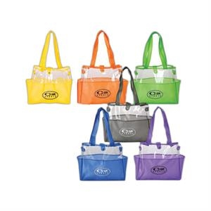Double Clear Pvc Tote Bag With Snap Button Closure And Two Side Pockets