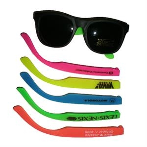 Children's Rubber Frame Sunglasses With Black Front And Neon Colored Arms