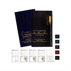 Executive Vinyl Cover Pocket Address Book With Flat Black Gold Tip Pen