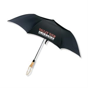Folding Golf Umbrella With Automatic Opening And Blond Wood Handle