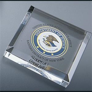 Corporate Series - Blank Goods. Clear Acrylic Square Paperweight With Bevel On Top