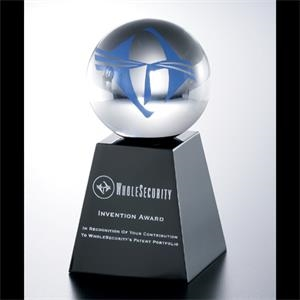 "Lucite (r) - Blank Goods. Custom 3"" Dia. Sphere On A 3"" X 3"" X 2"" Black Base Award"