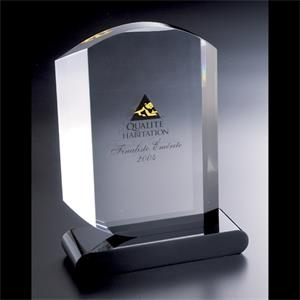 "Lucite (r) - Blank Goods. Custom Embedment, 6"" X 8"" X 1"" With Black Base Award"