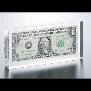 "Lucite (r) - Blank Goods. Rectangular Award With Dollar Bill Insert, 6 3/4"" X 3 1/4"" X 1"""