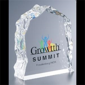 Lucite (r) - Blank Goods. Clear Block With Ice Effect Embedment Award