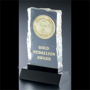 Lucite (r) - Blank Goods. Green Tinted Ice Effect Embedment Award