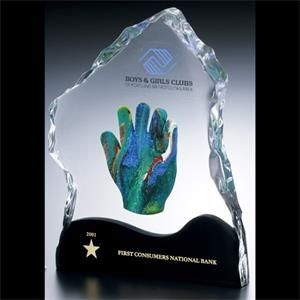 "Lucite (r) - Blank Goods. Clear Block With Ice Effect Embedment Award, 7"" X 8 3/4"" X 1"""