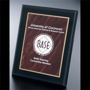 Blank Goods. Traditional Rectangular Red Marble Print With Gold Contour Wall Plaque