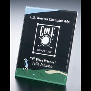 "Golf Series - Blank Goods. Acrylic Beveled Female Golf Award, 8"" X 10"" X 3/8"""