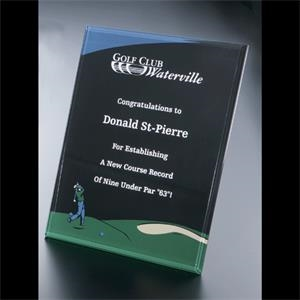 "Golf Series - Blank Goods. Acrylic Beveled Male Golf Award, 8"" X 10"" X 3/8"""