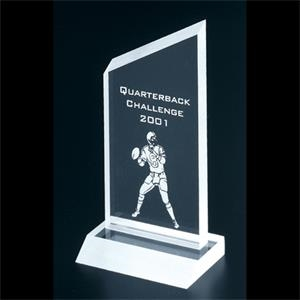 "Frosted Series - Blank Goods. Clear Frosted Economy Acrylic Slanted Peak Award, 3"" X 5 3/4"" X 3/8"""