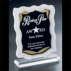 Sub Zero Series - Blank. Clear Acrylic Award With Sandblasted Sides, Gold Accents, Black Background