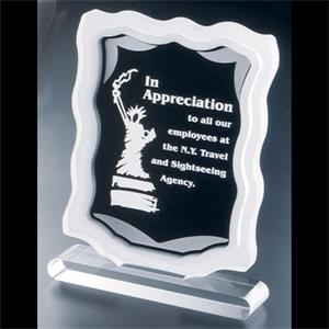 Sub Zero Series - Blank. Clear Acrylic Award With Sandblasted Sides, Silver Accents, Black Background
