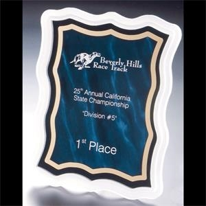 Sub Zero Series - Blank. Acrylic Plaque Award With Sandblasted Edge And Blue Marbled Background