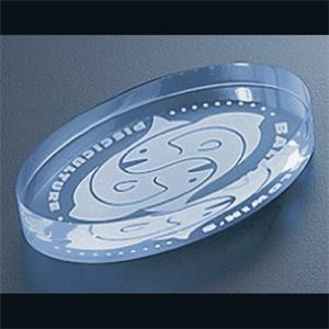 "Executive Series - Blank Goods. Blue Edge Acrylic Oval Paperweight, 2 1/4"" X 4"" X 3/4"""