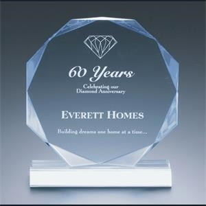 "Executive Series - Blank Goods. Clear Acrylic Multi-faceted Octagon Shape Award, 6""dia. X 3/4"""