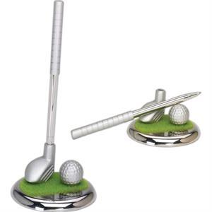 Silver Metal Golf Club Pen Set