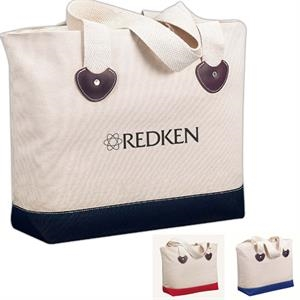 Zippered Boat Tote Bag With Leatherette Detail