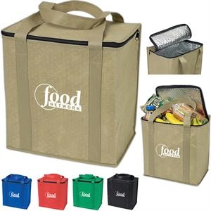 Non-woven Polypropylene Insulated Grocery Tote With Zippered Lid