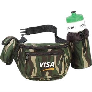 Camouflage - Polyester 600 Denier Fanny Pack With Bottle Holder And Cellular Phone Pouch