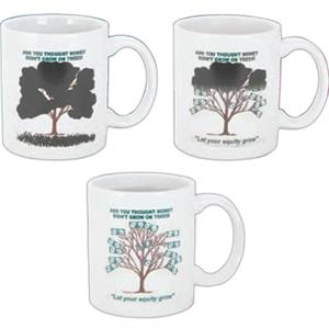 Magic Mug (tm) - Temperature Reactive Ceramic Mugs, Money Tree Trick Design Pattern, 11 Oz