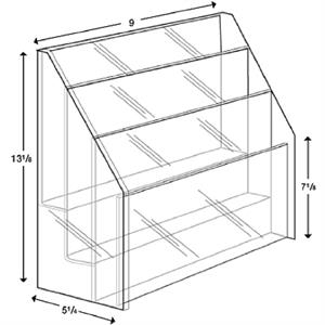 """3-Tier acrylic brochure holder for 8 1/2\""""W literature"""