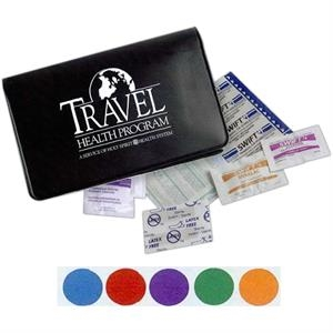 First Aid Kit For Travel Use. Includes Bandages, Adhesive Pad And More
