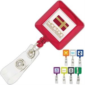 Square Plastic Retractable Badge Holder With Standard Clip