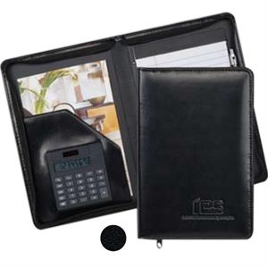 Wexford - Junior Zippered Padfolio With Calculator. Made Of Simulated Leather
